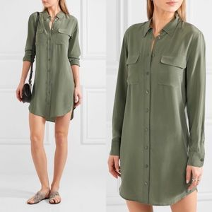Equipment Slim Washed Silk Mini Shirt Dress